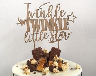 Baby Shower Gender Reveal Cake Topper   Twinkle Twinkle cake topper wood   Baby Shower Cake Topper   Twinkle Little Star Shower