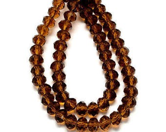 1 Strand Brown Faceted Rondelle Glass Beads 6x4mm Handmade Glass Beads Imitate Austrian Crystal ( No.061)