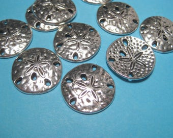 10pcs Antique Silver Hammered  Sand Dollar Links Connector Charms