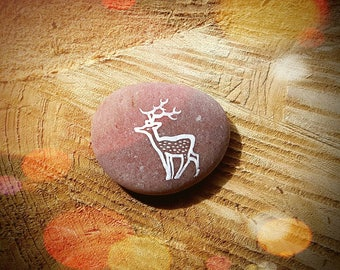 Hand Painted Deer Art Pebble Decoration - Stag Totem - MADE TO ORDER