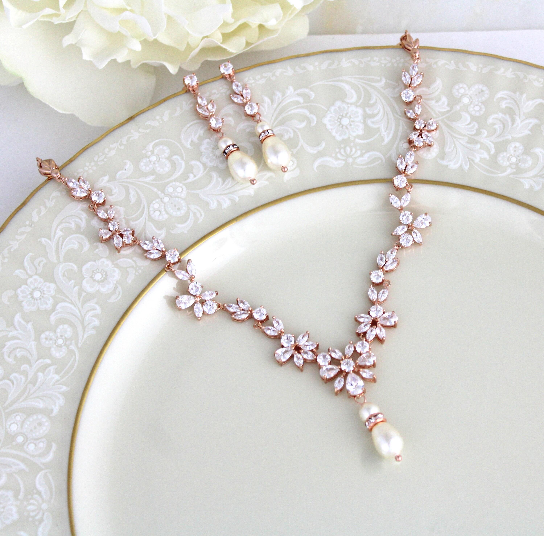 rose gold necklace bridal jewelry set rose gold earrings. Black Bedroom Furniture Sets. Home Design Ideas