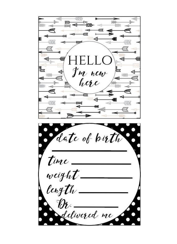 Black & White Preemie NICU Milestone Cards and a no touching sign