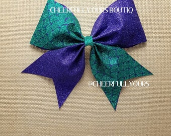 Best and Trending Customized Unique Mermaid Sparkle Glitter Cheer Bow by CHEERFULLY OURS BOUTIQ
