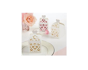 White Lantern Wedding Or Party Favor Boxes 50 Count, Create Your Own Crafting Candy Favor Boxes, White Theme Party Candy Boxes For Guests