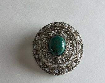 Vintage 925 Silver, Eilat Stone & Seed Pearl Brooch / Pendant