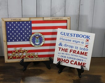 Personalized Guest Book/Flag/Navy/Coast Guard/Army/Air Force/Military/Retirement/Guest Book/Wood Shape/Planes/Free Shipping USA