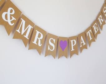 Personalized mr and mrs banner purple wedding decoration, plum, lilac