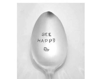 Bee Happy,  Stamped Spoon, Vintage Silverware, Engraved Personalized Spoons, Gifts Under 15 Bee Stamp
