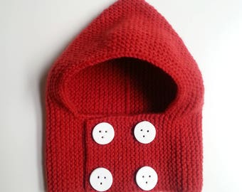 Woolen hat(cap) baby knit in the hand red / birth in 24 months / cowl for woolen baby / baby cloth knitting(sweater) baby / life jacket baby