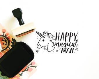 custom business stamp - no. 21 - happy mail unicorn stamp - happy mail - small business stamp - unicorn stamp - hand illustrated