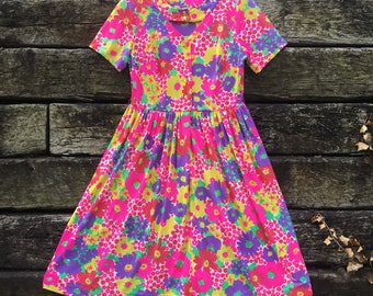 Bright Hippie Floral Midi Dress