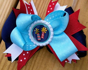 Independence Day Medium Stacked Hair Bow