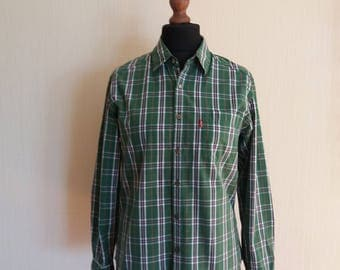 Vintage Cowboy Levi's Plaid Button Down Western Green Tartan Shirt Medium Size