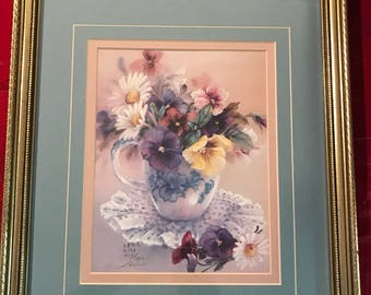 Lena liu Limited Edition Signed Pansies w:Daisies #950 of 2500 12x14