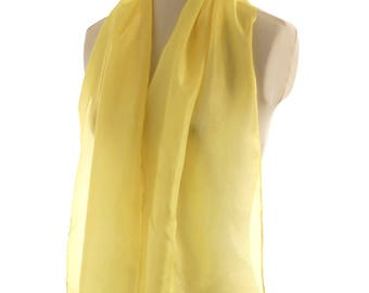 Yellow silk scarf, naturally dyed scarf hand dyed lemon yellow shawl plant dyed silk shawl, botanical dyed scarf, eco spring summer scarf