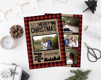 Buffalo Plaid Christmas Card - Holiday Photo Postcard - Christmas Card Printable - Christmas Card With Photos - Lumberjack - Kraft Paper