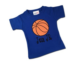 Boy's Sports Basketball Birthday Shirt with Embroidered Name