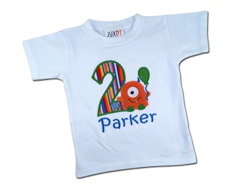 Monster Birthday Shirt with Number and Embroidered Name