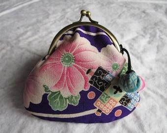 12cm Antique Silk Gamaguchi Purse  - made with antique silk Japanese kimono fabric