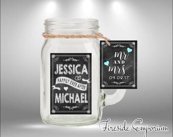 PERSONALIZED Miniature Mason Jar Wedding Favors, Rustic Wedding, Mason Jar Shower Favors, Mason Jar Candles, Bridesmaids, Chalkboard candles