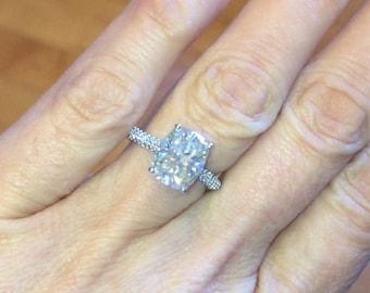 Long Cushion Cut Moissanite Engagement Ring 10x8mm Center .55ct Natural Diamonds Wedding Ring 18k white gold Ring Pristine custom Rings