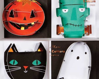 Halloween Cookie Cutter Set by Meri Meri, Cat Ghost Pumpkin Frankenstein Cookie Cutters, Halloween Cookies, Halloween Party, Kids Halloween
