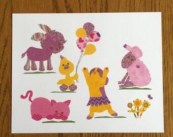 Barnyard Animals, cut paper art, whimsical, baby print, children print, donkey, kitten, lamb, bunny, chick