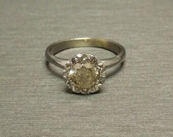 Vintage Estate C1950 14K White Gold 1.03TCW Bezel set Natural Fancy Champagne / Cognac Diamond Solitaire Starburst Engagement Ring Sz 7.75