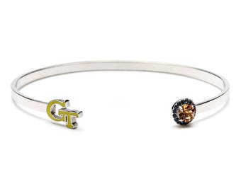 Georgia Tech Gold GT Bangle Bracelet with Crystals