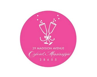 Champagne Stickers (hot pink) - Personalized!