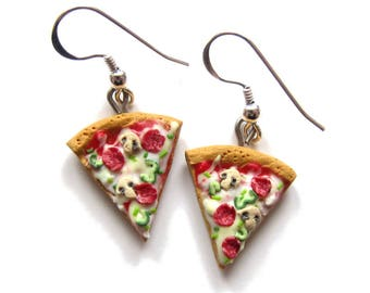 Pizza Earrings, Pizza Jewelry, Miniature Food Earrings, Mini Food Jewelry, BFF Friendship Jewelry, Polymer Clay Food, Polymer Clay Earrings,
