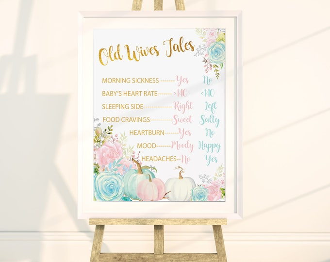 """Old Wives Tales 16x20"""" //Gender Reveal // Peonies // Blue or Pink // Floral // Instand Download // Made to Match our CARMEL COLLECTION"""
