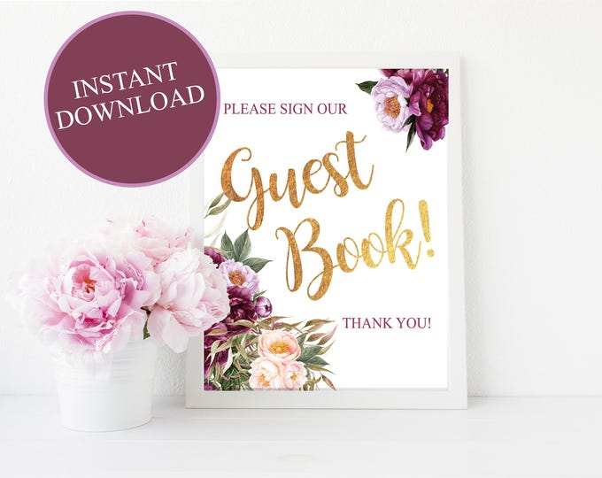 Guest Book Sign // Sign the Guest Book // Bridal // instant download // Baby // Floral // Burgundy // 8x10 or 5x7 // FLORENCE COLLECTION