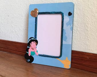 Picture frame-OOAK-Princess Jasmine inspired picture frame, princess room, photo frame, housewares