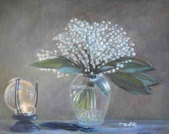 Life style,oil on canvas box 'Lilies of the valley'
