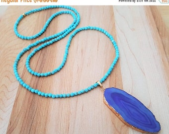 15% OFF SALE Faceted  Natural Turquoise and Purple Agate Slice Necklace / Beaded Necklace / Boho Luxe /  Agate Geode / Gemstone Necklace / L