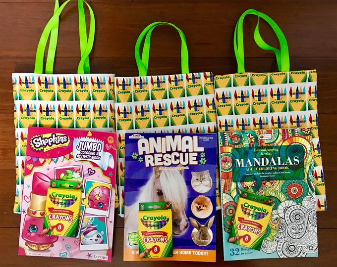 """Featured listing image: Coloring book bag with free crayons/ free coloring book 81/2"""" x 12"""" with 12""""handle"""