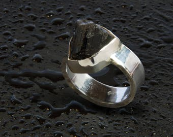 Raw Black Tourmaline and Sterling Silver Ring