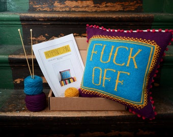 FUCK OFF Knitting Cushion Cover Knit Kit - Bright Bold Rude Profanity Sactter Cushion
