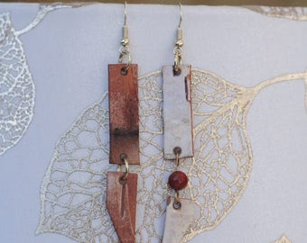 Long Earrings|Birch Bark|Natural Materials|Woodsy|Bead|Elegant|Gift for Her|Handmade|Sustainably Harvested
