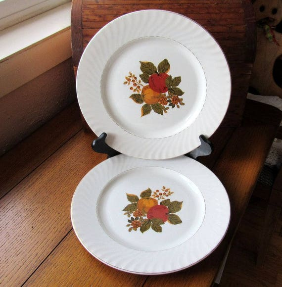 Two English Harvest Dinner Plates Enoch Wedgwood