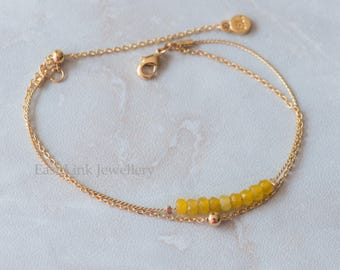 Handmade petite style 14K Gold plated natural stones yellow November Birthstone bracelet birthday gift beaded chain bracelet