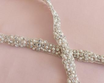 crystal and pearl wedding sash belt, pearl bridal sash belt, skinny sash belt, jewelled sash belt, Swarovski pearl and crystal sash belt