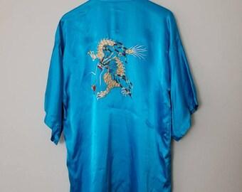 Vintage Liquid Silk Embroidered Dragon Robe