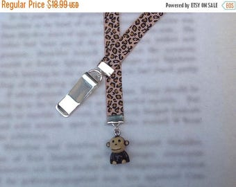 ON SALE Monkey bookmark, cute bookmark with clip - Attach to book cover then mark the page with the ribbon. Never lose your cute bookmark!
