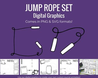 Digital Graphics -  Jump Rope Set (png and svg) Bullet Journal Digital Stickers