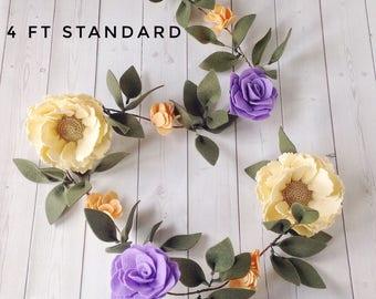 Felt flower garland for baby shower or girl nursery, Ready to ship