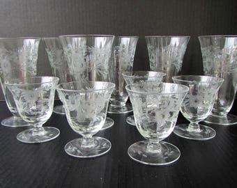 Set of 11 Etched Glass Footed Tumbler Glasses - Mid Century Barware - Water Goblets and Cordial Glasses - Floral Pattern - Ice Tea - Optic