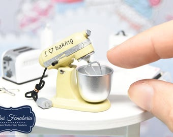 Stand Mixer NEW Collection -YELLOW handmade Dollhouse 1:12 scale realistic kitchen appliance