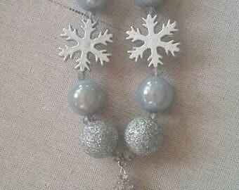 Sparkly Snowflake Bubble Gum Bead Necklace